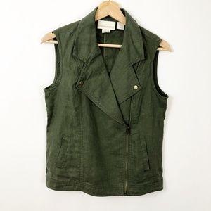 Cynthia Rowley Linen Green Olive Moto Style Vest